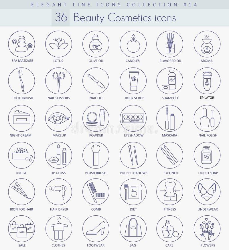 Комплект значка красоты вектора и плана косметик Элегантная тонкая линия дизайн стиля бесплатная иллюстрация