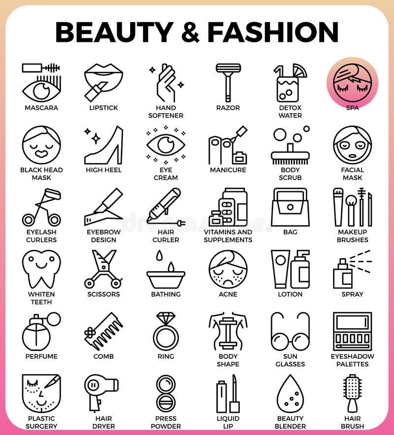 Комплект значка красоты и моды иллюстрация штока