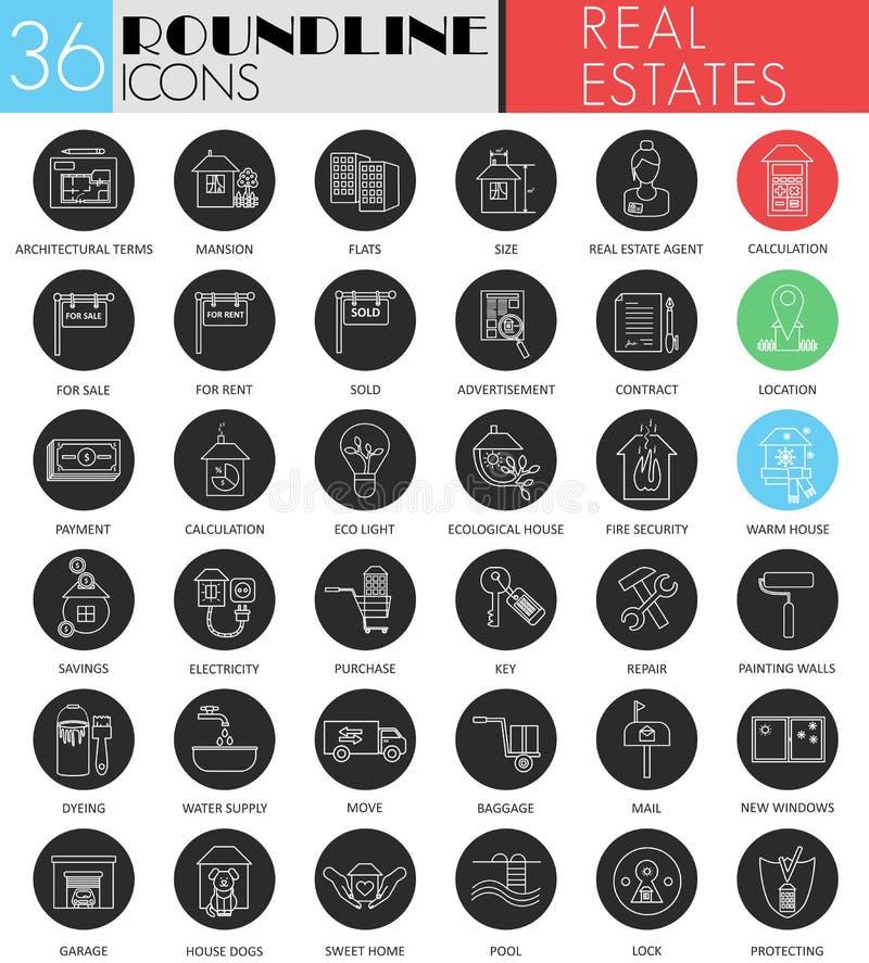 Комплект значка круга недвижимостей вектора белый черный Современная линия дизайн значка черноты для сети иллюстрация штока
