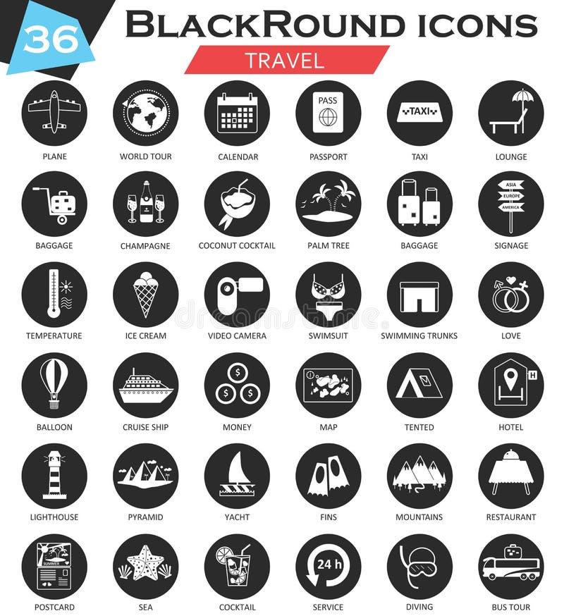 Комплект значка круга перемещения вектора белый черный Ультра современный дизайн значка для сети бесплатная иллюстрация