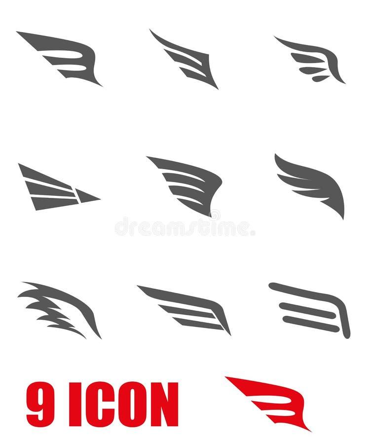 Комплект значка крыла вектора серый иллюстрация штока