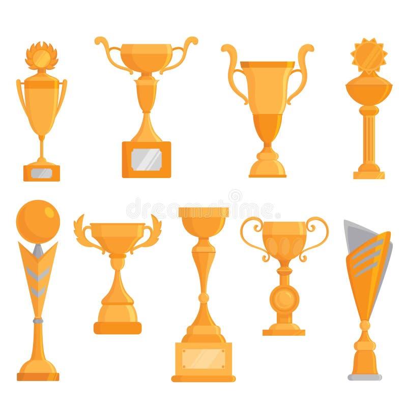 Комплект значка кубка вектора плоский золотой в плоском стиле Награда победителя золотистый трофей иллюстрация вектора