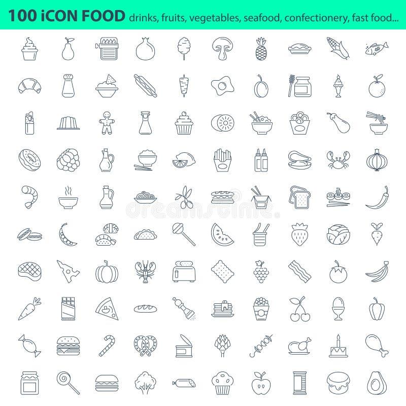 Комплект значка меню ресторана свежих продуктов бесплатная иллюстрация