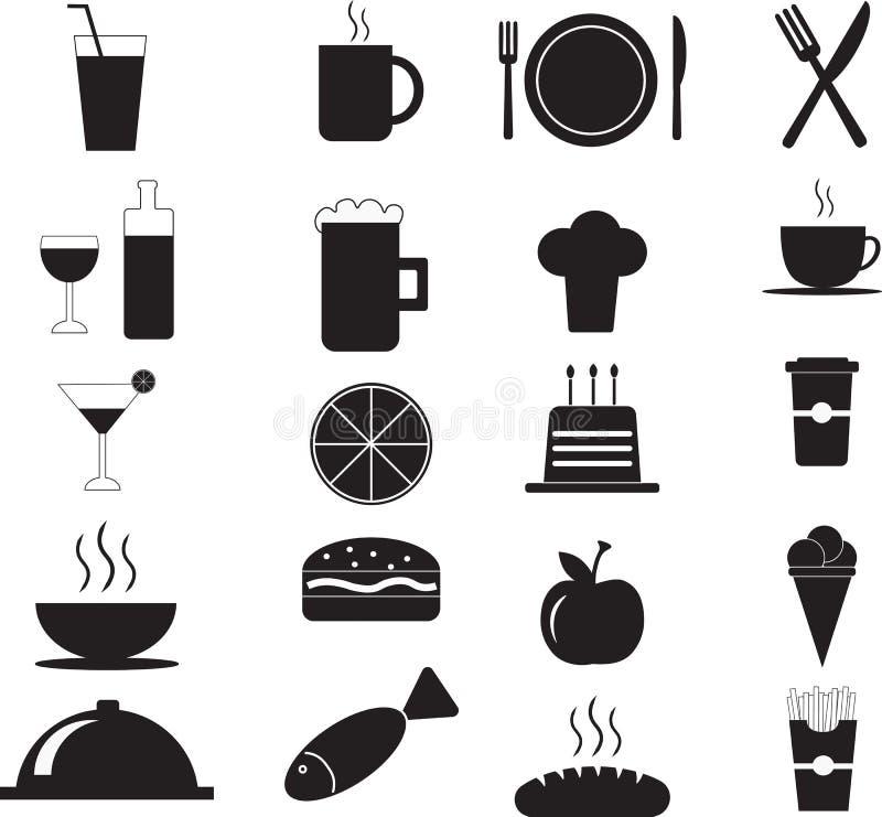 Комплект значка меню ресторана свежих продуктов иллюстрация вектора
