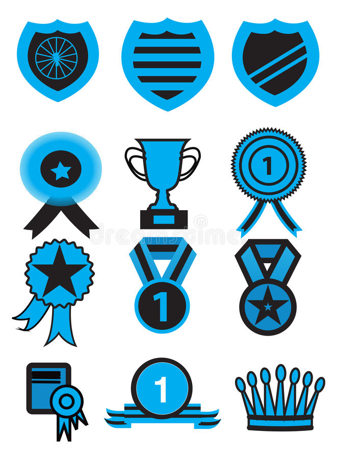 Комплект значка медали награды бесплатная иллюстрация