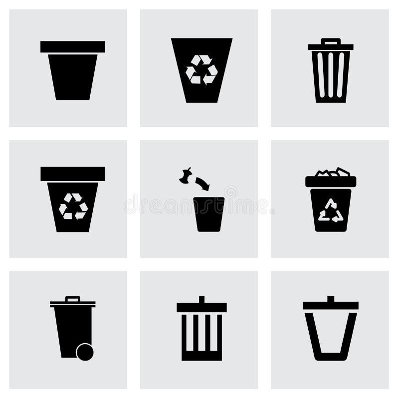 Комплект значка мусорного бака вектора иллюстрация штока