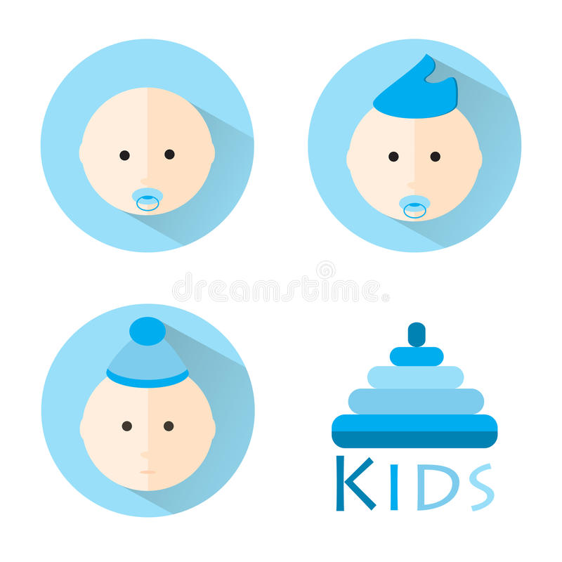 Комплект значка младенца детей плоский Дети vector комплект иллюстрация вектора