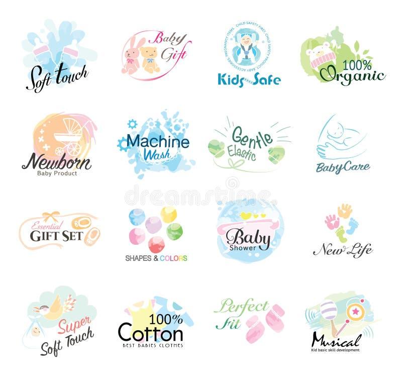 Комплект значка младенцев ярлыки и значки для продуктов детей иллюстрация штока