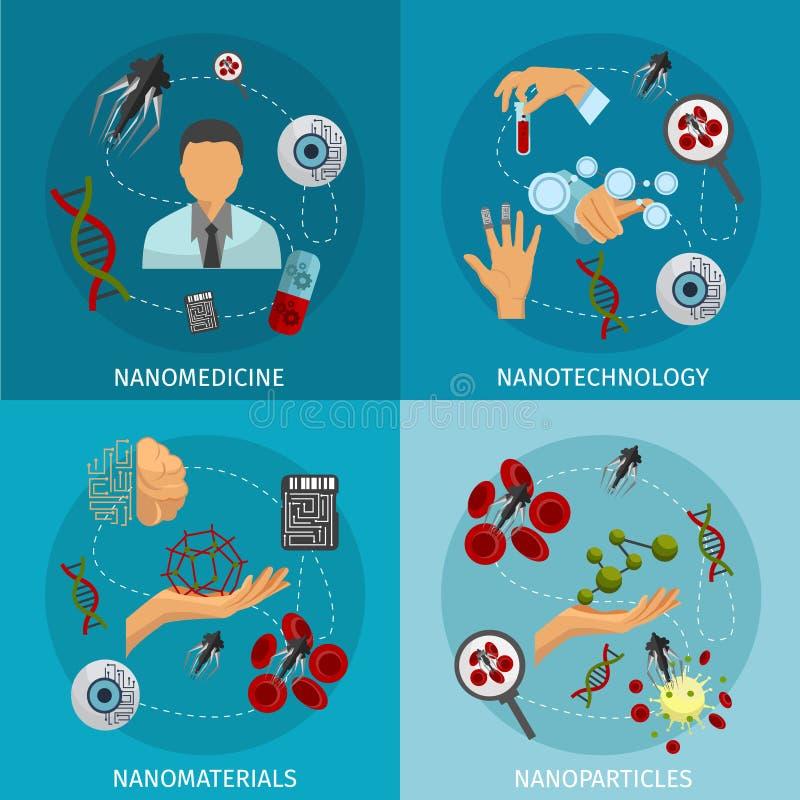 Комплект значка нанотехнологии иллюстрация штока