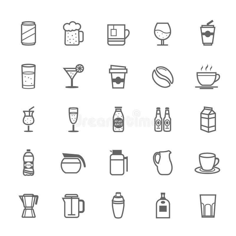 Комплект значка напитка хода плана иллюстрация вектора