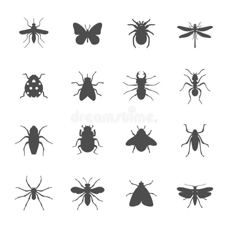 Комплект значка насекомых иллюстрация штока