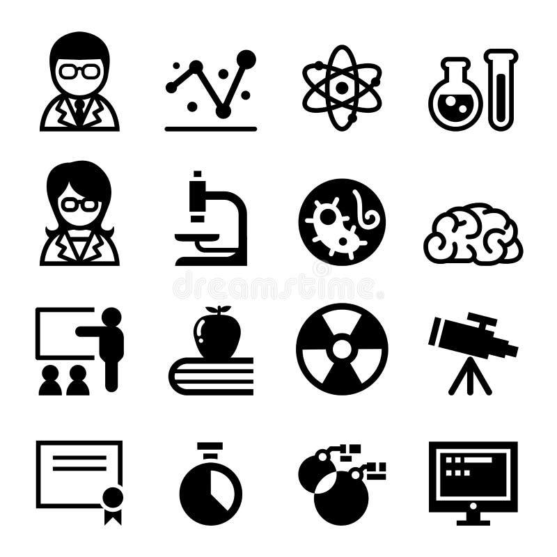 Комплект значка науки иллюстрация штока