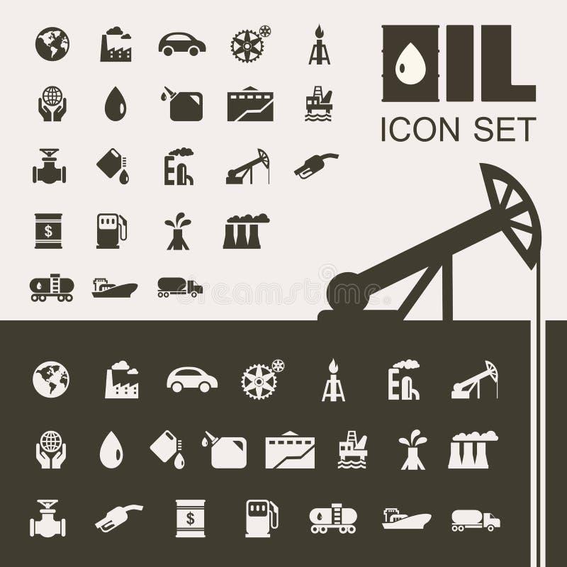 Комплект значка нефтедобывающей промышленности плоский иллюстрация штока