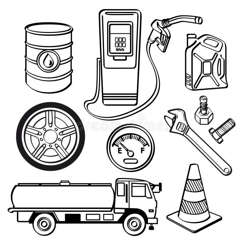Комплект значка нефтедобывающей промышленности иллюстрация штока