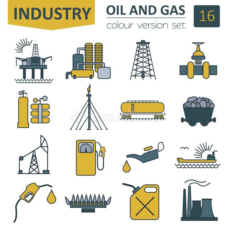 Комплект значка нефтяной промышленности нефти и газ Дизайн цвета иллюстрация вектора