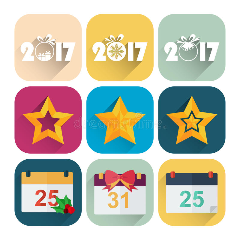 Комплект значка Нового Года плоский календаря, звезда и Новый Год датируют бесплатная иллюстрация