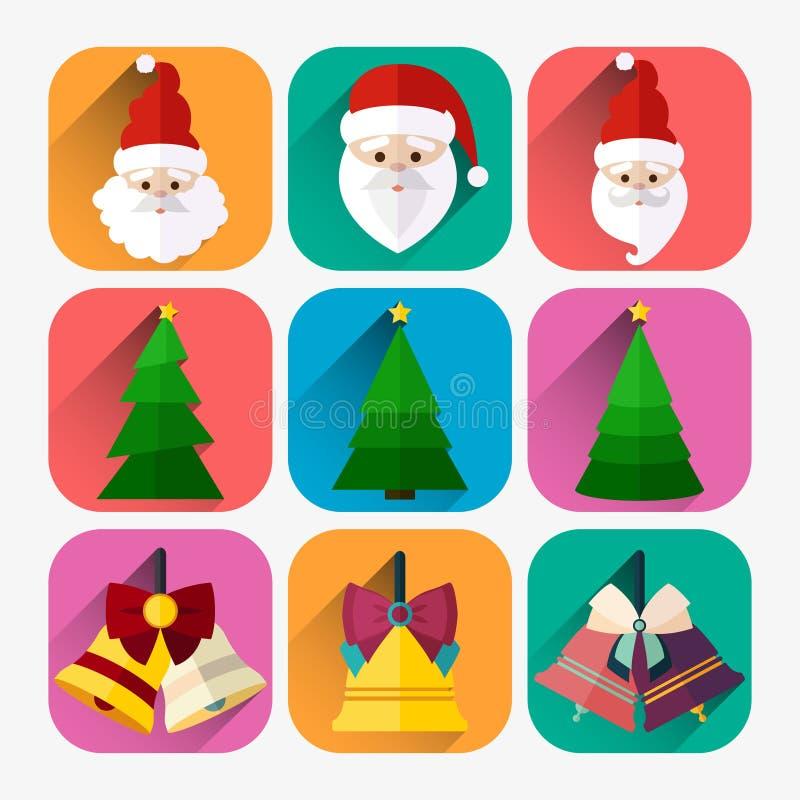 Комплект значка Нового Года плоский колокола santa, рождественской елки и рождества бесплатная иллюстрация