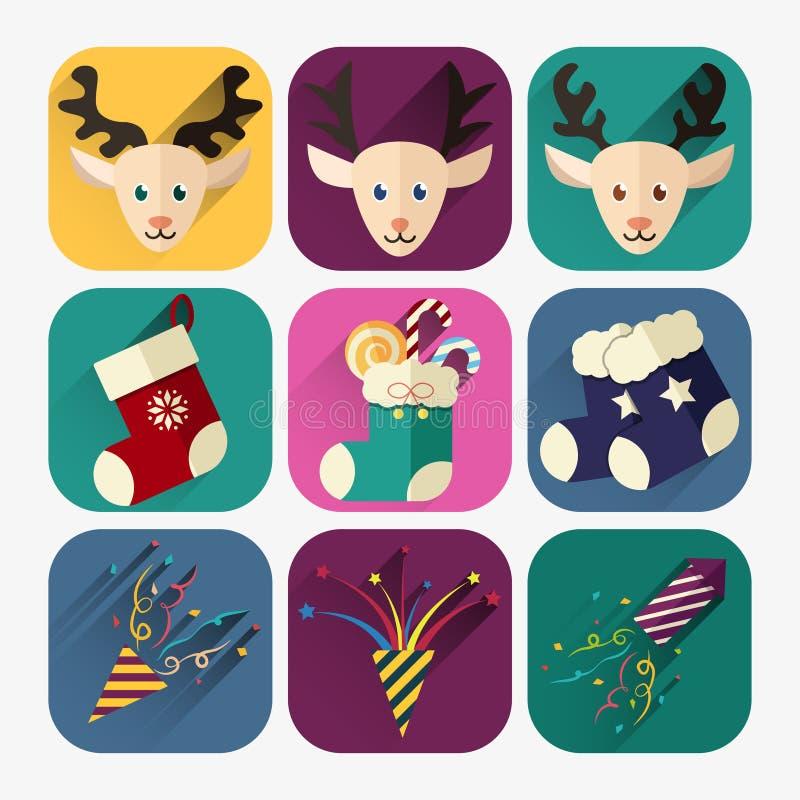 Комплект значка Нового Года плоский оленей, свечей и confetti рождества бесплатная иллюстрация