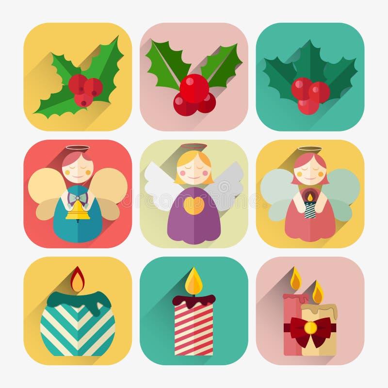 Комплект значка Нового Года плоский свечей, ангелов и ягод падуба рождества иллюстрация вектора