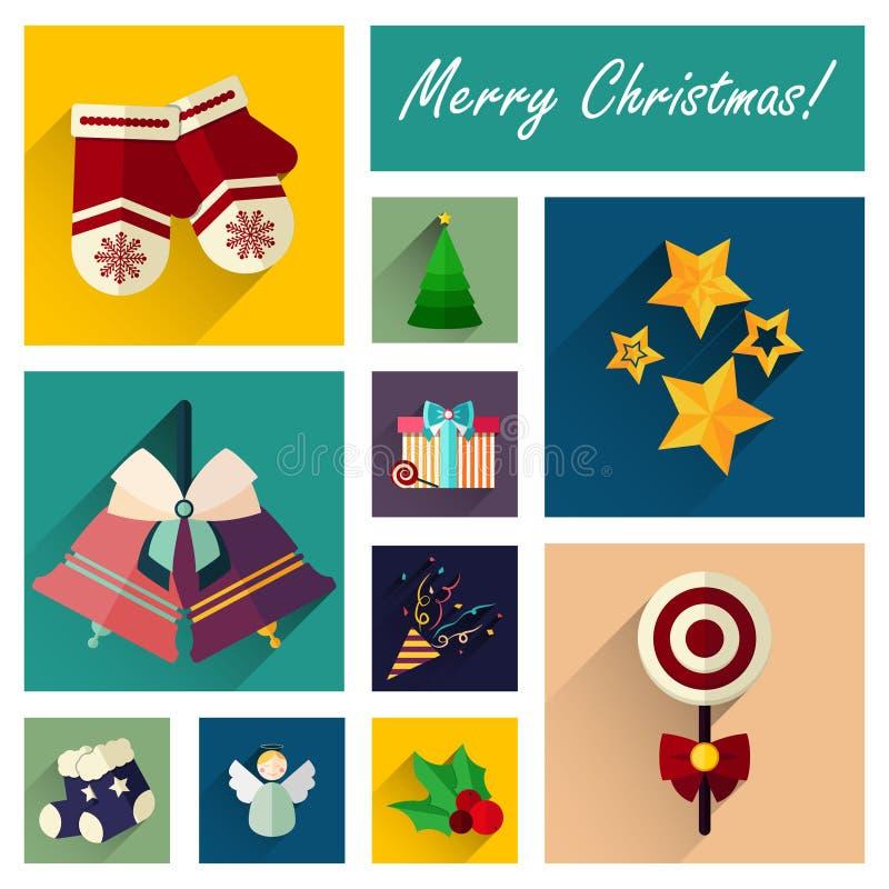 Комплект значка Нового Года плоский 10 элементов рождества разделяет 2 иллюстрация вектора