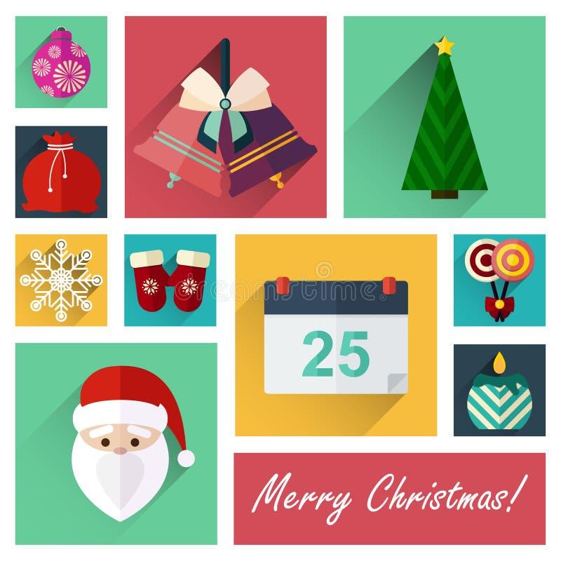 Комплект значка Нового Года плоский 10 элементов рождества разделяет 4 бесплатная иллюстрация