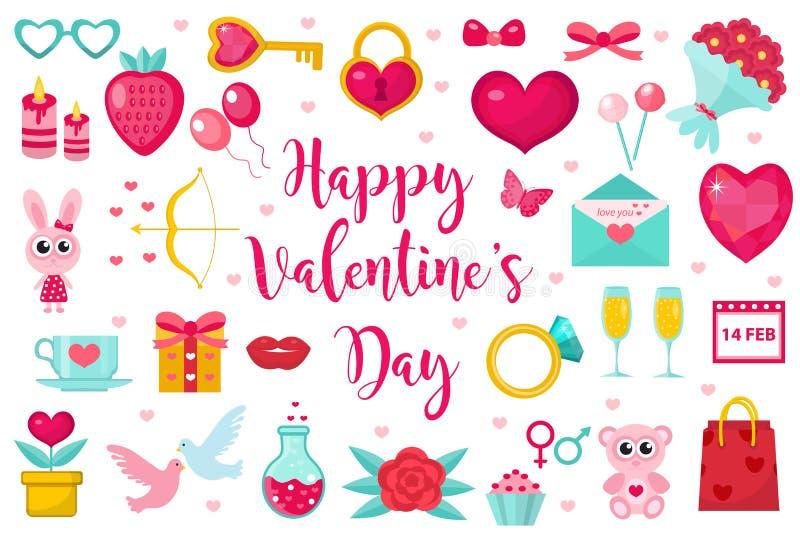 Комплект значка дня валентинок, плоский стиль Символы собрание полюбите, романс и датировка, элемент дизайна, объект изолированны иллюстрация штока