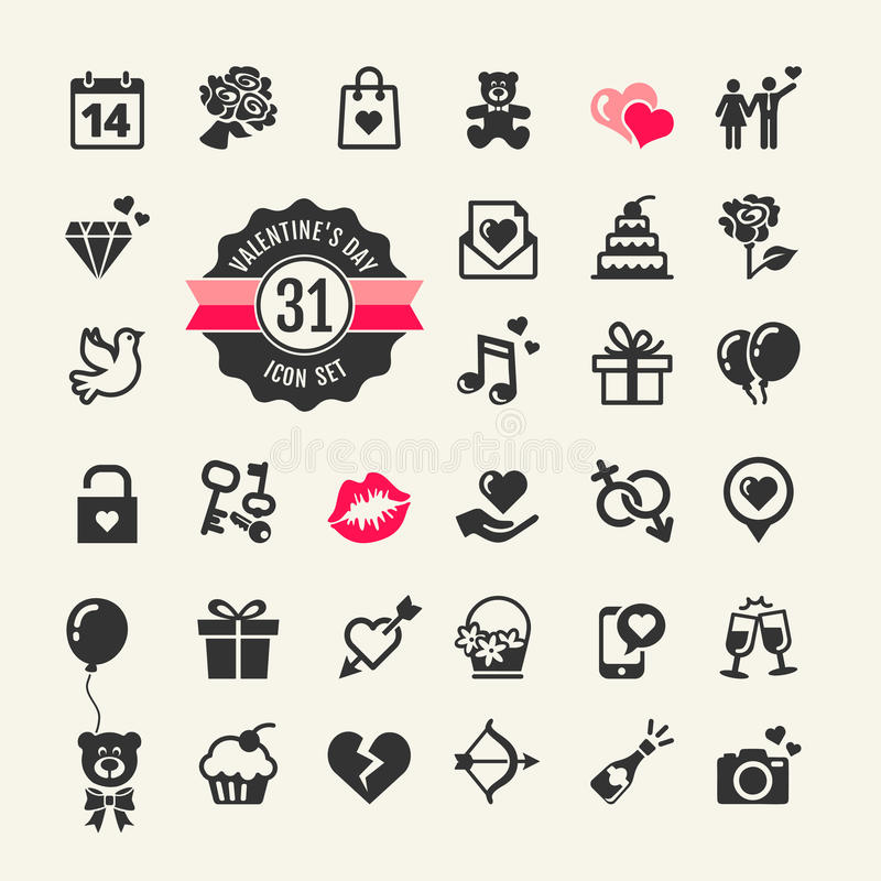 Комплект значка дня валентинок бесплатная иллюстрация