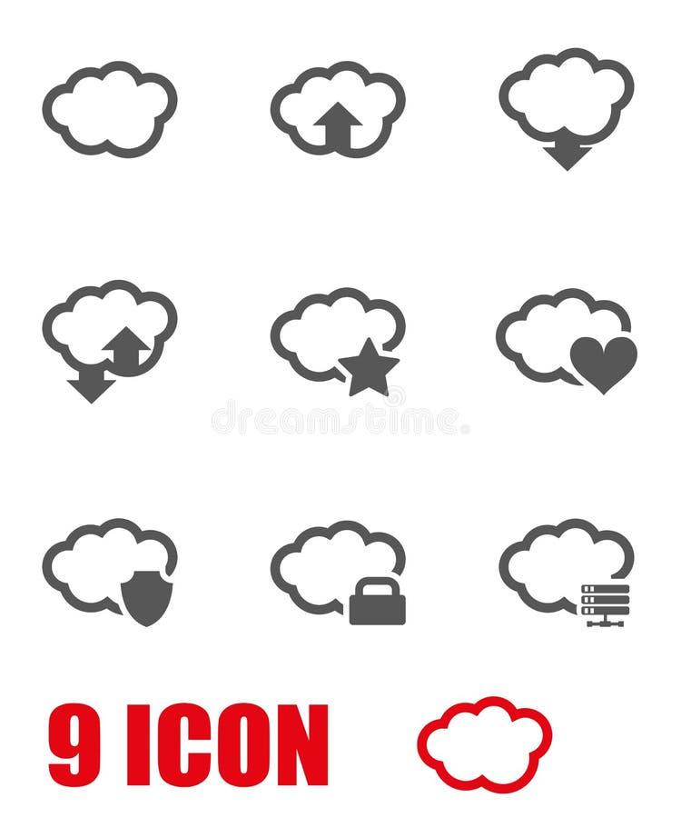 Комплект значка облака вектора серый иллюстрация вектора