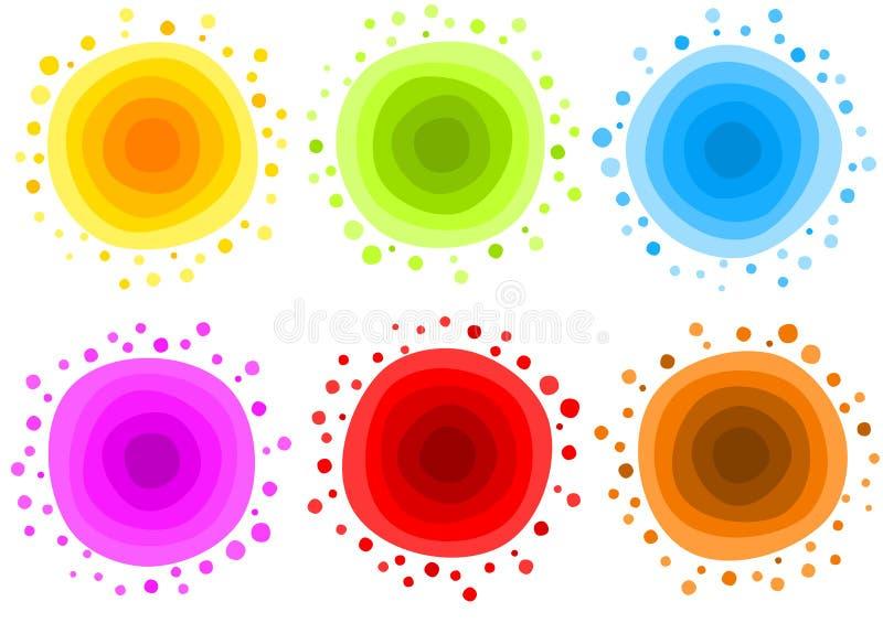 Комплект значка огня глауконита воды Солнця иллюстрация вектора