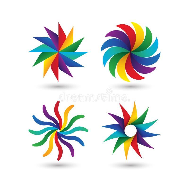 Комплект значка логотипа абстрактного геометрического круга красочный бесплатная иллюстрация