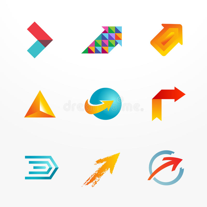 Комплект значка логотипа вектора символа стрелки иллюстрация вектора