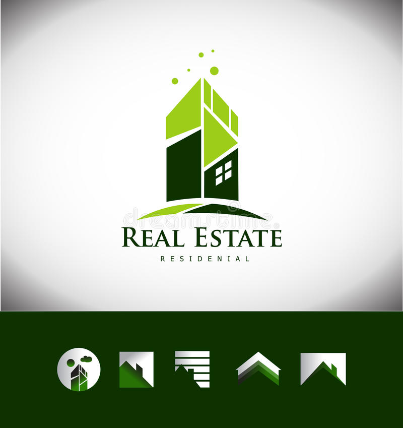 Комплект значка логотипа крыши дома здания недвижимости иллюстрация штока