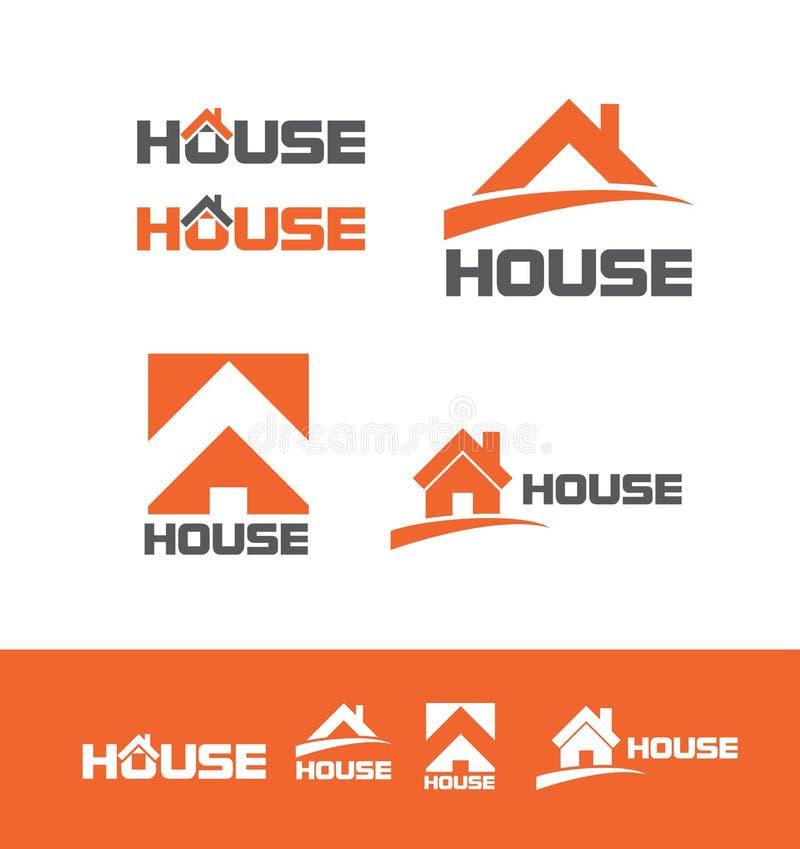 Комплект значка логотипа недвижимости дома иллюстрация штока