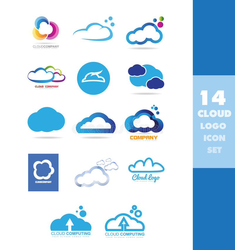 Комплект значка логотипа хранения данных облака бесплатная иллюстрация