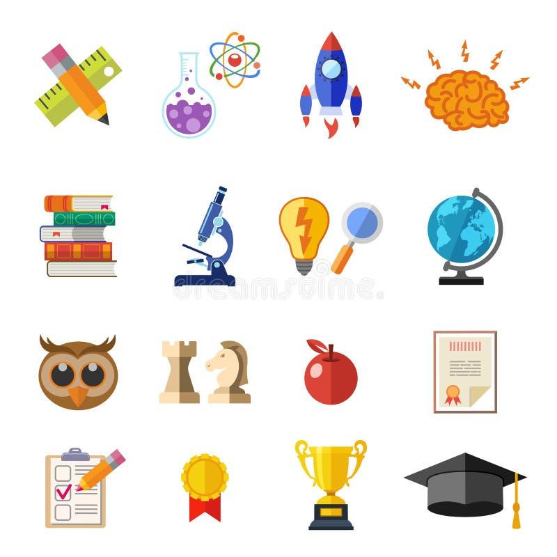 Комплект значка онлайн образования плоский иллюстрация вектора