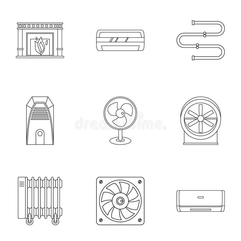Комплект значка охлаждающего воздушного потока топления, стиль плана бесплатная иллюстрация