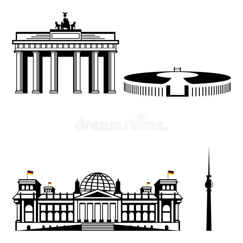 Комплект значка памятника Берлина известный иллюстрация вектора