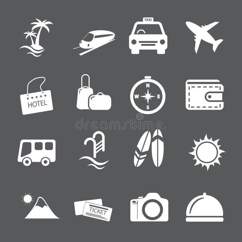 Комплект значка перемещения и каникул, вектор eps10 иллюстрация штока