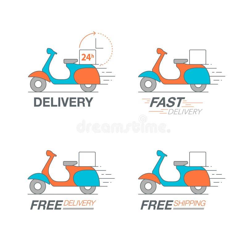 Комплект значка поставки Обслуживание мотоцикла самоката, заказ, 24 часа, f иллюстрация вектора