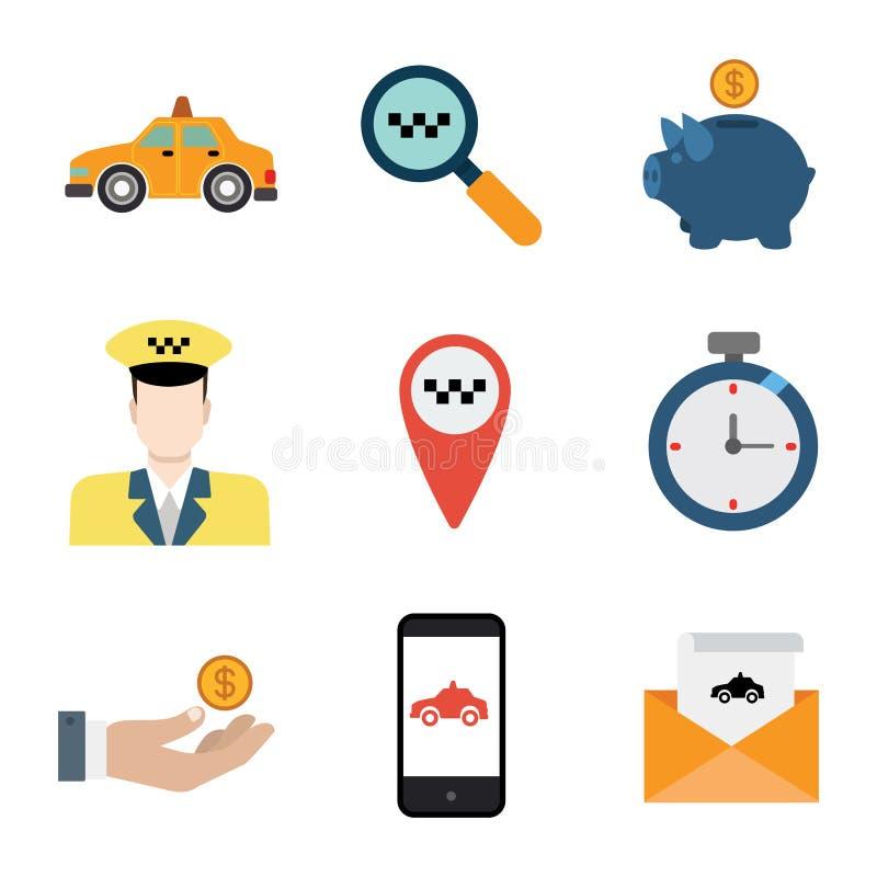 Комплект значка применения app водителя поиска обслуживания такси передвижной иллюстрация вектора