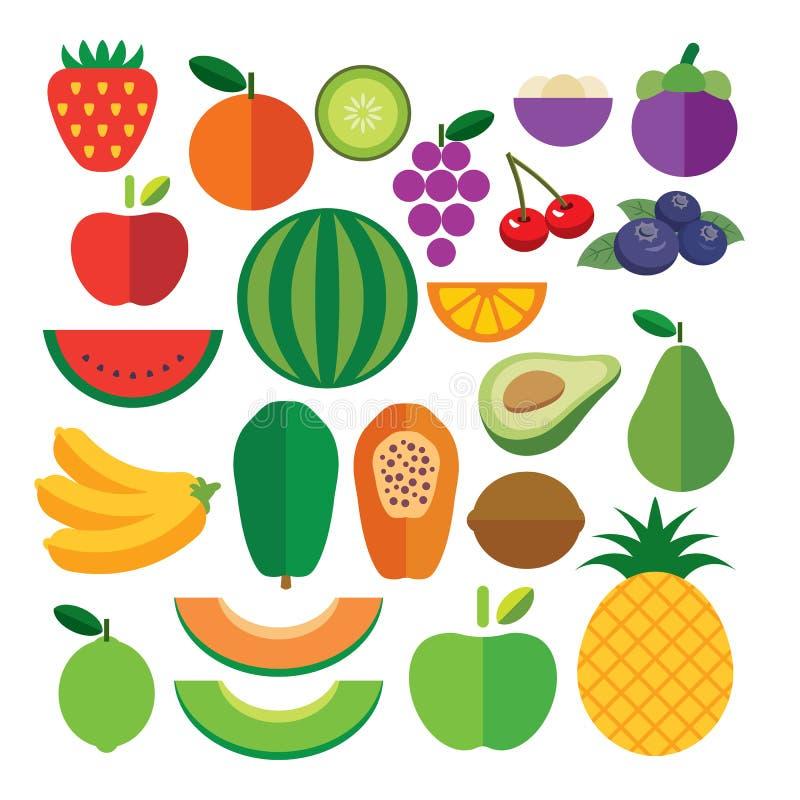 Комплект значка плодоовощей плоского иллюстрация штока