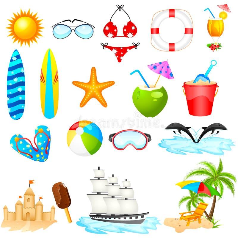 Комплект значка пляжа иллюстрация штока