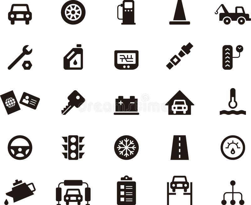 Комплект значка ремонта гаража и автомобиля бесплатная иллюстрация