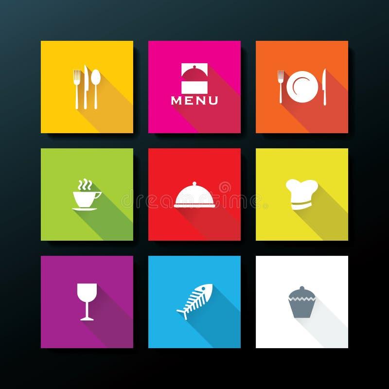 Комплект значка ресторана вектора плоский иллюстрация вектора