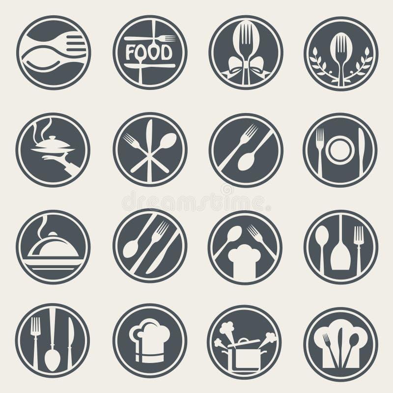Комплект значка ресторана бесплатная иллюстрация