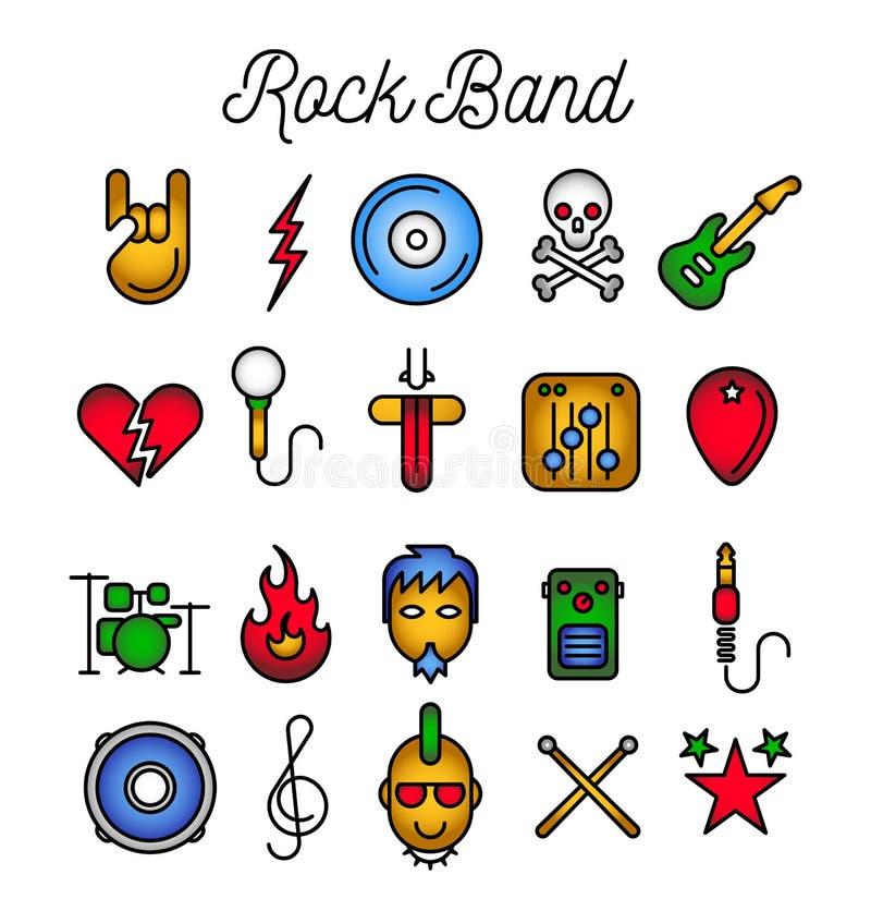 Комплект значка рок-группы бесплатная иллюстрация