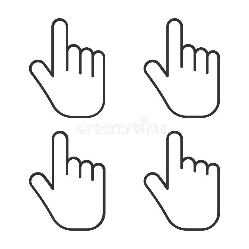 Комплект значка руки изолированный на белой предпосылке также вектор иллюстрации притяжки corel иллюстрация вектора