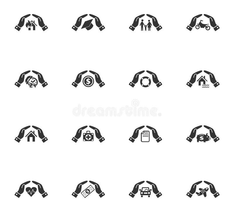 Комплект значка руки страхования иллюстрация штока