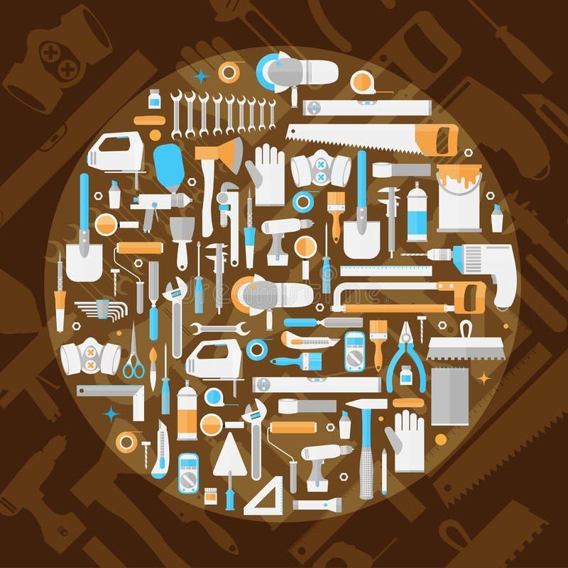 Комплект значка ручных резцов, плоский дизайн, формат вектора eps10 бесплатная иллюстрация