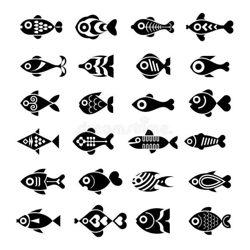 Комплект значка рыб иллюстрация вектора